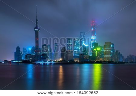 Shanghai skyline at Lujiazui Pudong central business district near Huangpu river in Shanghai China.