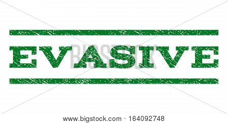 Evasive watermark stamp. Text tag between horizontal parallel lines with grunge design style. Rubber seal green stamp with unclean texture. Vector ink imprint on a white background.