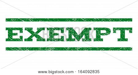 Exempt watermark stamp. Text tag between horizontal parallel lines with grunge design style. Rubber seal green stamp with scratched texture. Vector ink imprint on a white background.