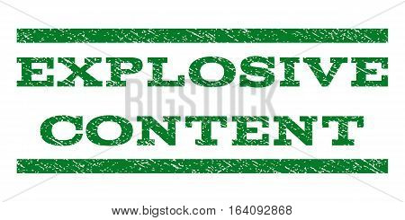 Explosive Content watermark stamp. Text caption between horizontal parallel lines with grunge design style. Rubber seal green stamp with dust texture. Vector ink imprint on a white background.