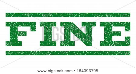 Fine watermark stamp. Text tag between horizontal parallel lines with grunge design style. Rubber seal green stamp with dirty texture. Vector ink imprint on a white background.
