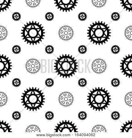 Black gears on white seamless pattern design. Vector illustration