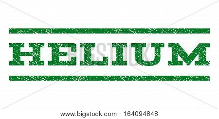 Helium watermark stamp. Text caption between horizontal parallel lines with grunge design style. Rubber seal green stamp with scratched texture. Vector ink imprint on a white background.