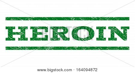Heroin watermark stamp. Text tag between horizontal parallel lines with grunge design style. Rubber seal green stamp with dirty texture. Vector ink imprint on a white background.