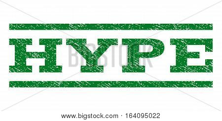 Hype watermark stamp. Text caption between horizontal parallel lines with grunge design style. Rubber seal green stamp with dust texture. Vector ink imprint on a white background.