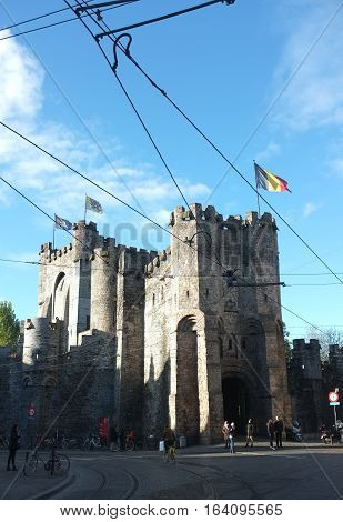 London, UK - December 19, 2016: The Gravensteen is a castle which originating from the Middle Ages in Ghent, Belgium