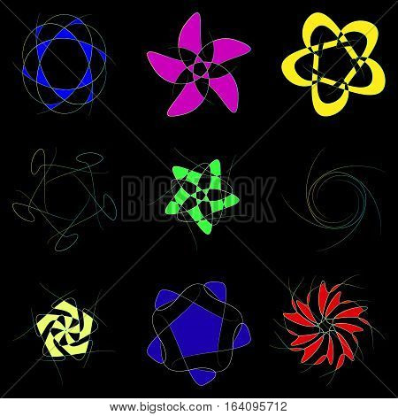 Schematic flowers on a black background. Flowers for logos or design.