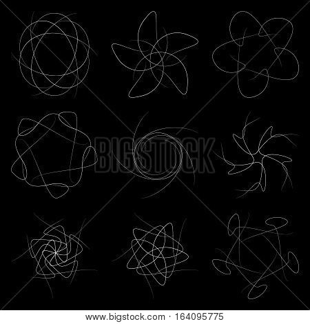 A set of patterns on a black background. Decorative patterns for schematic symbols and infographics.