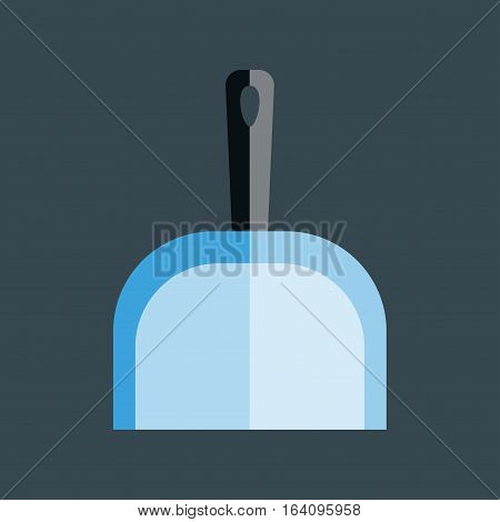 Dustpan vector icon flat modern design, scoop for cleaning garbage housework dustpan equipment. Handle sweeping plastic shovel illustration.