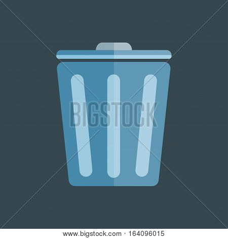 Trash bin garbage container and recycle symbol vector. Domestic flat recycling clean basket isolated. Waste environment dustbin container illustration.