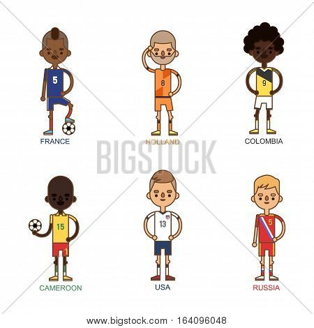 National Euro Cup soccer football teams vector illustration. World game player captain leader in uniform. Sport men isolated on white background.