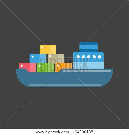 Sea transport ship concept. Cute cartoon summer marine water sailboat. Travel Nautical vacation yacht vessel. delivery boxes ocean trip vector illustration.