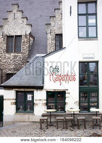 Ghent, Belgium -17 November, 2017: Front look of an Old Cafe in city of Ghent in Belgium