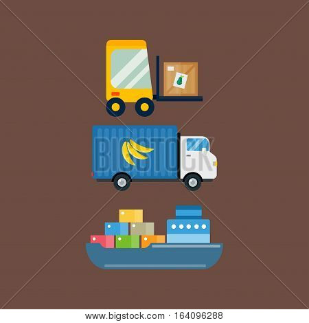 Import export fruits delivery transport and vegetables delivery vector icons set. Shipping shop commerce container sign. Organic food distribution package illustration.