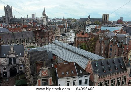 City of Gent overlook scenery from above