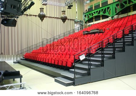 Ghent, Belgium - November 19, 2017: Small performance venue with read seats in Ghent, Belgium