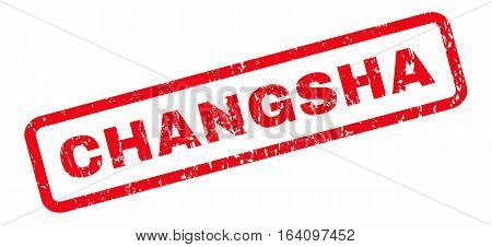 Changsha text rubber seal stamp watermark. Caption inside rounded rectangular shape with grunge design and dust texture. Slanted glyph red ink emblem on a white background.
