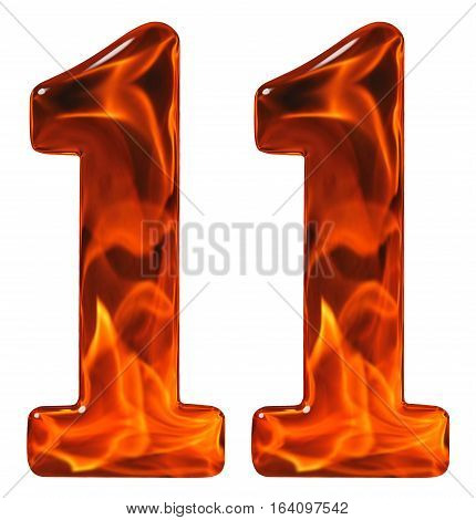 11, Eleven, Numeral From Glass With An Abstract Pattern Of A Flaming Fire, Isolated On White Backgro