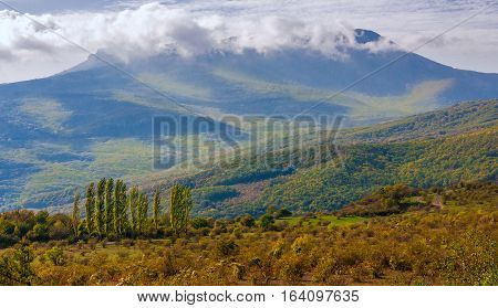 Crimean landscape in autumn time - wave hills, cypresses trees and beautiful mist.