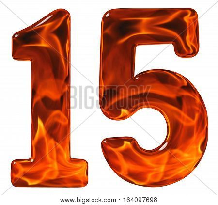 15, Fifteen, Numeral From Glass With An Abstract Pattern Of A Flaming Fire, Isolated On White Backgr