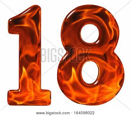 18, Eighteen, Numeral From Glass With An Abstract Pattern Of A Flaming Fire, Isolated On White Backg