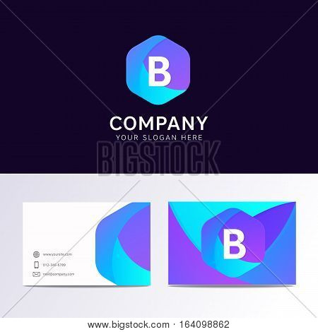 Abstract Flat B Letter Logo Iconic Sign With Company Business Card Vector Design