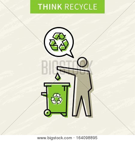 A man drops garbage into a rubbish bin vector illustration. Creative concept with recycle sign.