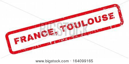 France Toulouse text rubber seal stamp watermark. Caption inside rounded rectangular banner with grunge design and dirty texture. Slanted glyph red ink sign on a white background.
