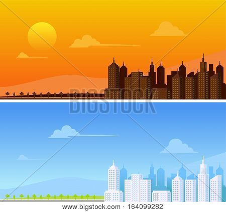 Urban landscape. Urban background. Daylight and afternoon urban landscape.