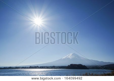 Mt. Fuji view in the morning with bright sunlight
