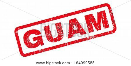 Guam text rubber seal stamp watermark. Tag inside rounded rectangular shape with grunge design and scratched texture. Slanted glyph red ink sticker on a white background.