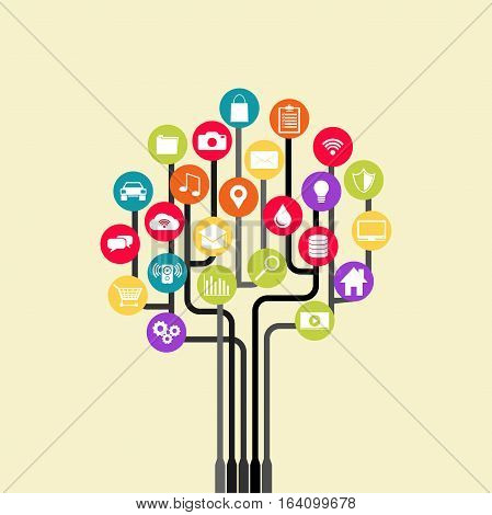Growth tree technology. Abstract technology background with lines circles and icons