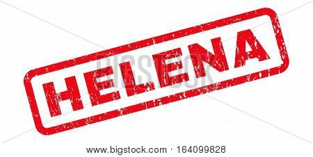 Helena text rubber seal stamp watermark. Tag inside rounded rectangular shape with grunge design and unclean texture. Slanted glyph red ink sign on a white background.