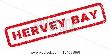 Hervey Bay text rubber seal stamp watermark. Caption inside rounded rectangular shape with grunge design and dust texture. Slanted glyph red ink sign on a white background.