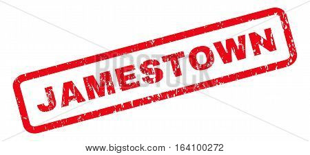 Jamestown text rubber seal stamp watermark. Caption inside rounded rectangular banner with grunge design and scratched texture. Slanted glyph red ink emblem on a white background.