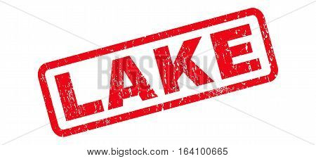 Lake text rubber seal stamp watermark. Caption inside rounded rectangular banner with grunge design and dirty texture. Slanted glyph red ink sign on a white background.