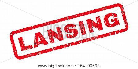 Lansing text rubber seal stamp watermark. Tag inside rounded rectangular shape with grunge design and dust texture. Slanted glyph red ink sign on a white background.