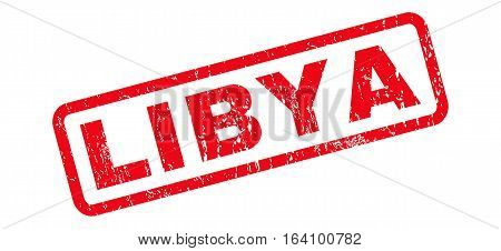 Libya text rubber seal stamp watermark. Tag inside rounded rectangular banner with grunge design and dirty texture. Slanted glyph red ink sign on a white background.
