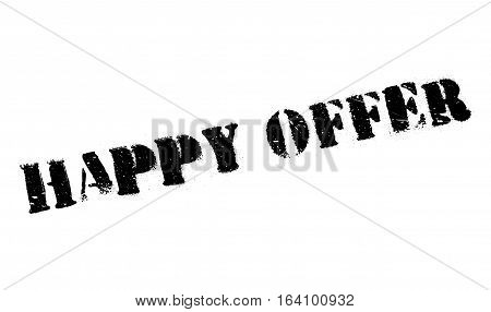 Happy Offer rubber stamp. Grunge design with dust scratches. Effects can be easily removed for a clean, crisp look. Color is easily changed.