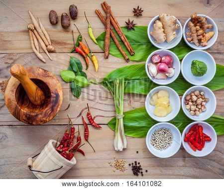 Various Of Thai Food Cooking Ingredients For Spice Red Curry Paste Ingredient Of Thai Popular Food O