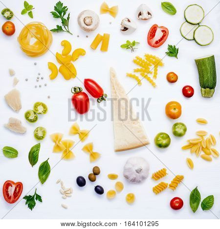 Italian Food Concept .various Kind Of Pasta With Ingredients Sweet Basil ,tomato ,garlic ,parsley ,p