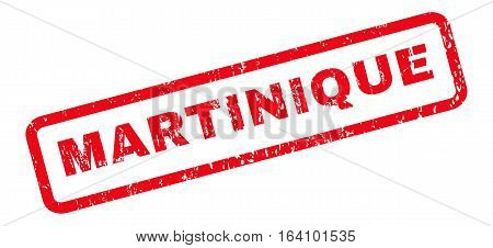 Martinique text rubber seal stamp watermark. Caption inside rounded rectangular banner with grunge design and dust texture. Slanted glyph red ink sign on a white background.