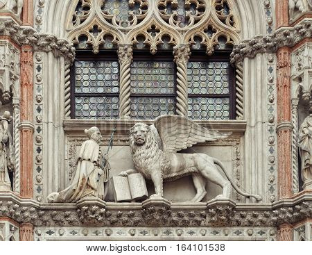 Sculptures Of The Winged Lion And The Doge Francesco