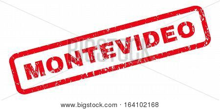 Montevideo text rubber seal stamp watermark. Caption inside rounded rectangular banner with grunge design and dust texture. Slanted glyph red ink emblem on a white background.