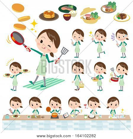 School Girl Green Blazer Cooking