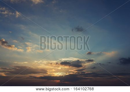 Colorful cloudy sky after sunset cloudscape background