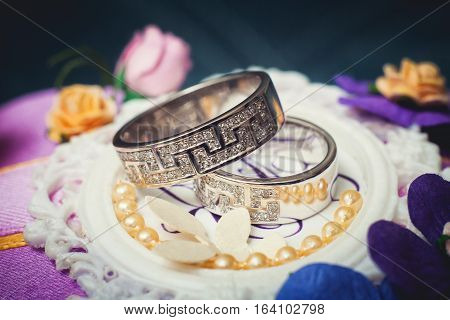 Beautiful wedding rings with brilliants close up