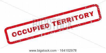 Occupied Territory text rubber seal stamp watermark. Caption inside rounded rectangular shape with grunge design and unclean texture. Slanted glyph red ink sign on a white background.