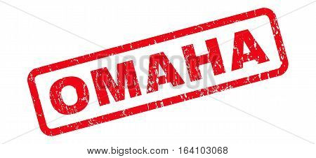 Omaha text rubber seal stamp watermark. Caption inside rounded rectangular banner with grunge design and unclean texture. Slanted glyph red ink emblem on a white background.