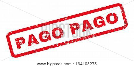 Pago text rubber seal stamp watermark. Caption inside rounded rectangular shape with grunge design and dirty texture. Slanted glyph red ink emblem on a white background.
